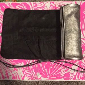 It cosmetics silver metallic brush bag rollup new